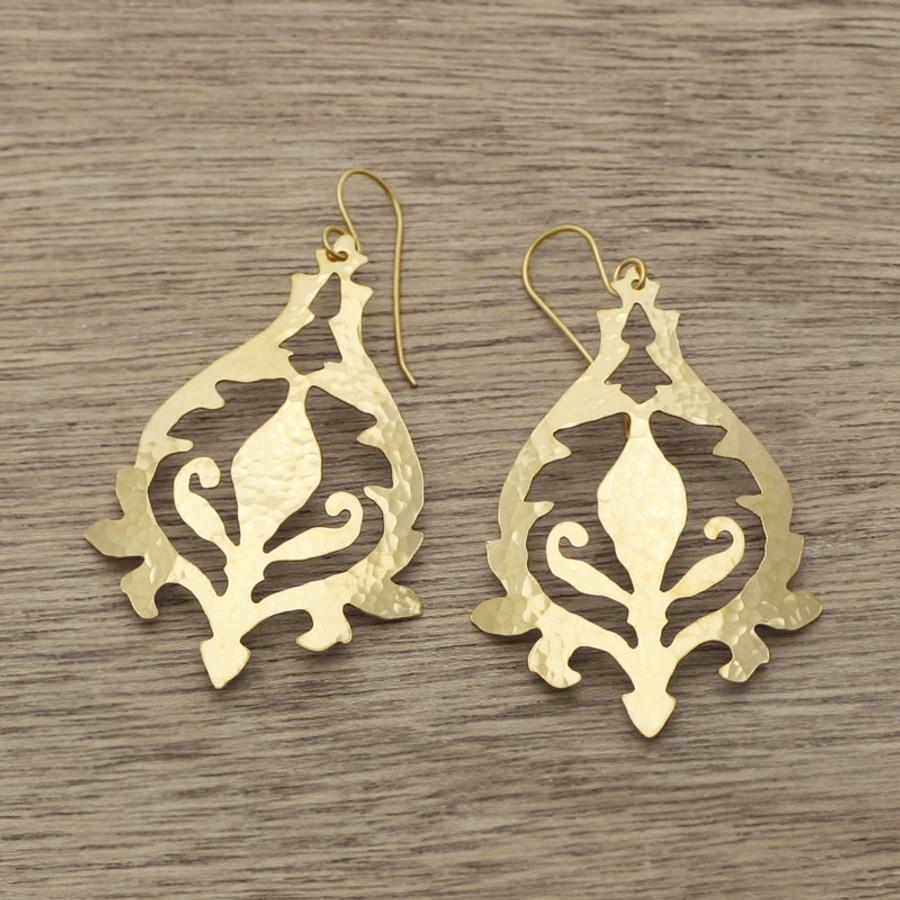 Gold blue bell earrings