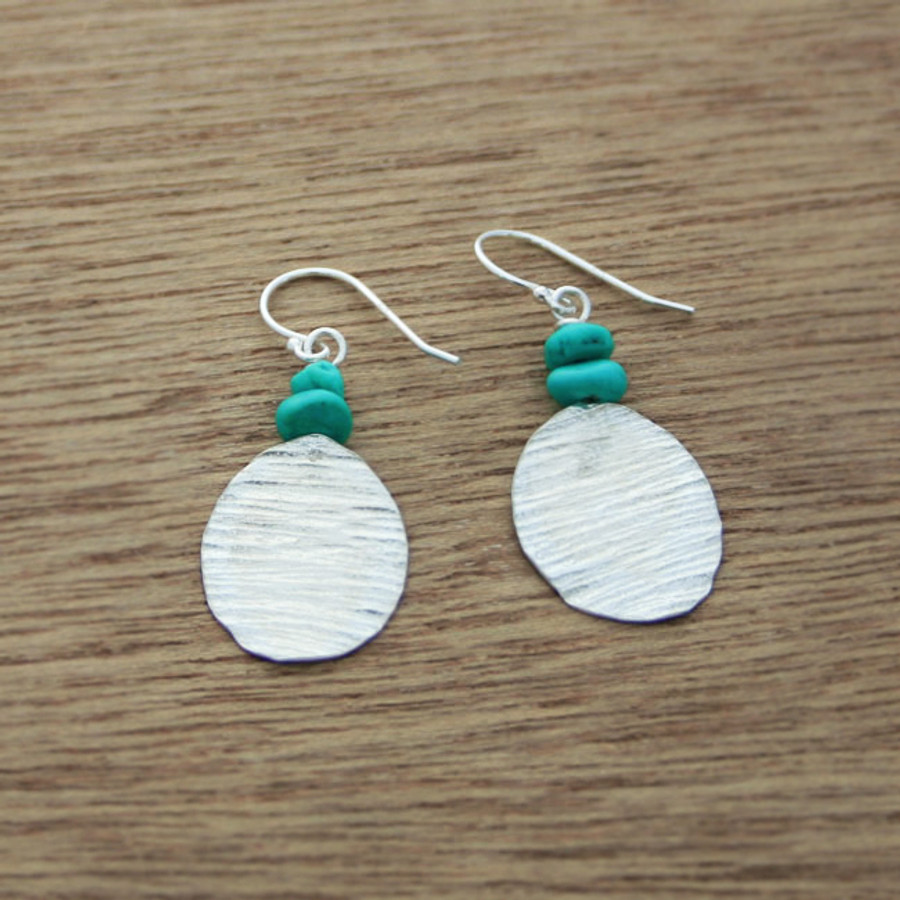turquoise bark earrings