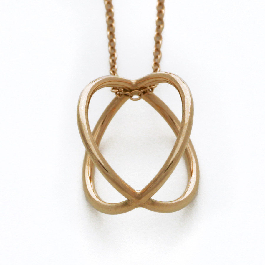 Rose gold cross over sphere necklace
