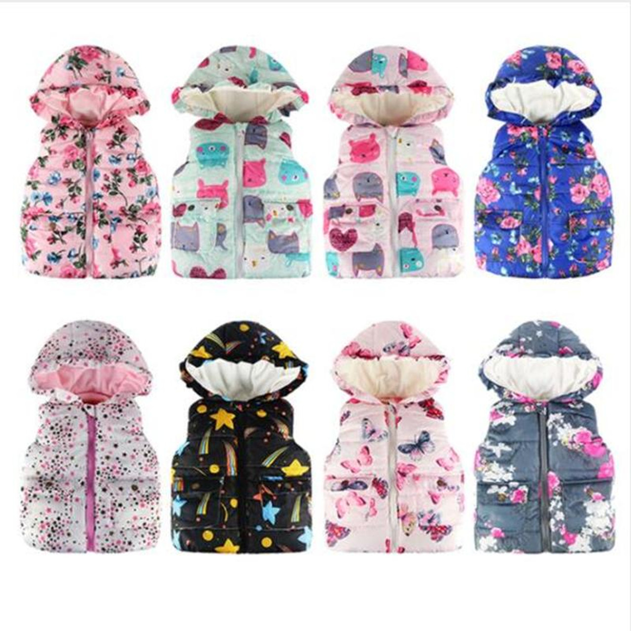 Toddler Baby Girl Boys Cute Little Girls Vests Outerwear with Hood Sleeveless Floral Flowers Hooded Warm Waistcoat Tops
