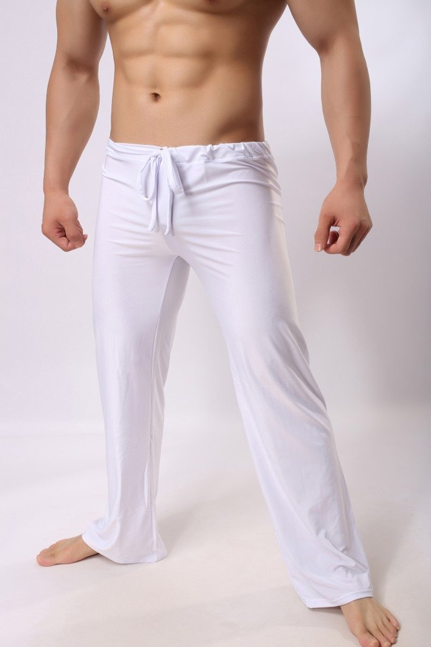 Mens Pants Mens Sleep Bottoms Viscose Home Pants Loose Sexy Mens Lounge  Pants Milk Silk Fashion Strap Sexy Male Pajamas