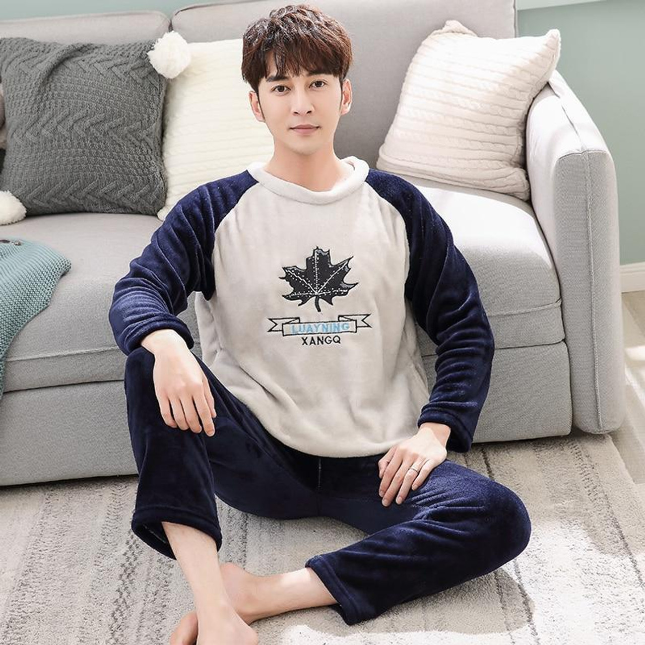 Autumn Winter Long Sleeve Warm Flannel Men's Cartoon Pajama Sets Thick Men  Sleepwear Coral Fleece Sleep &Lounge Pajamas Clothing