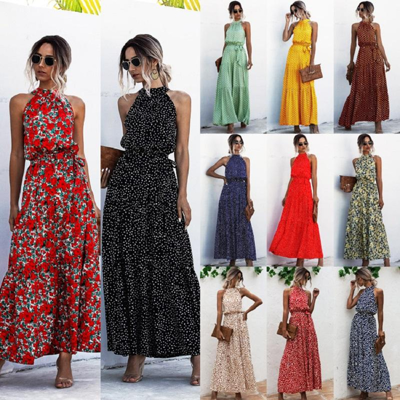 Summer Elegant Sexy beach long Dress Women 6 Fashion Print Flowers  Polka-dot strap Ladies Halter boho dress women vestidos