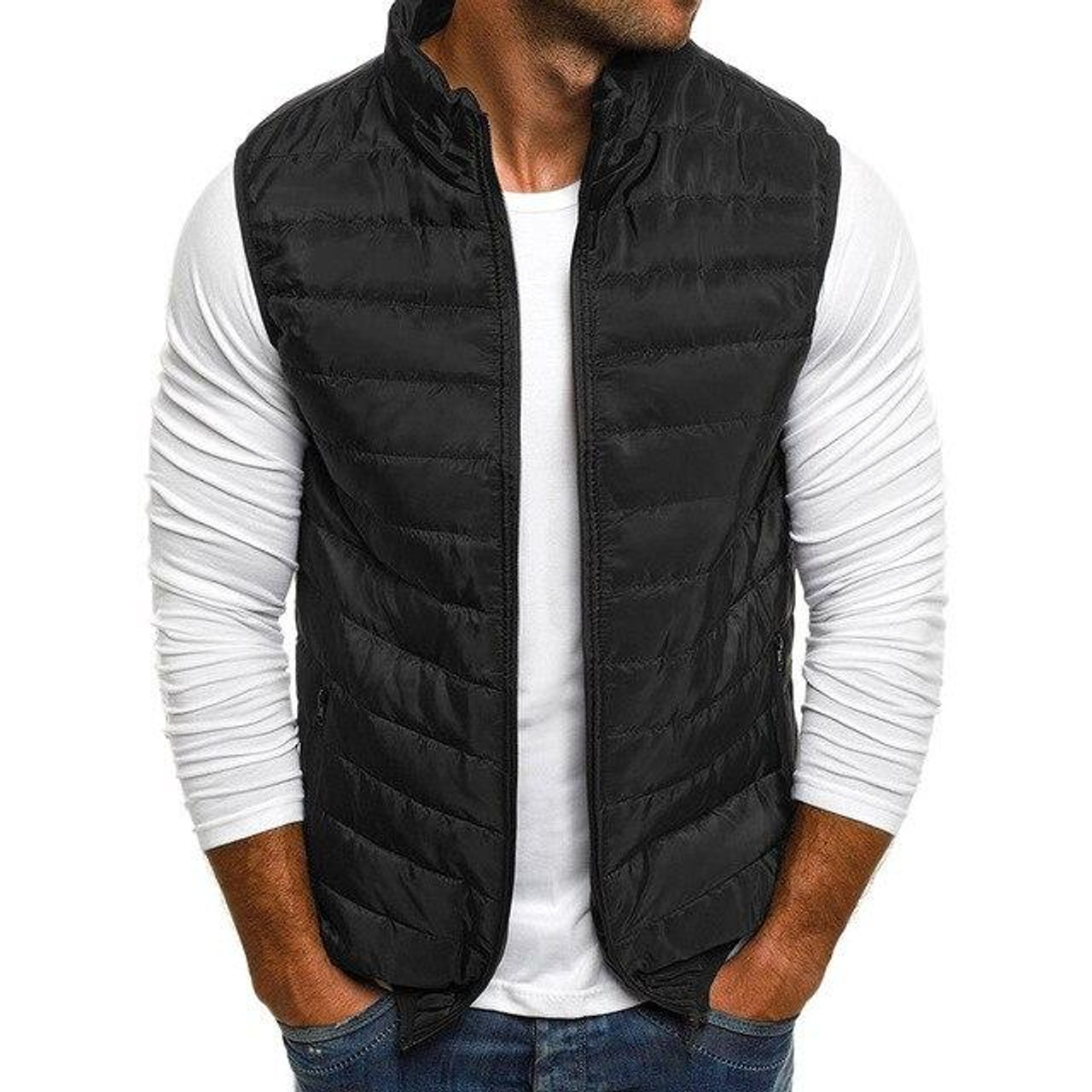 Zogaa 2020 Winter Fashion Mens Parka Vest Casual Outerwear Jacket Coat Men Sleeveless Waistcoat Men Parka