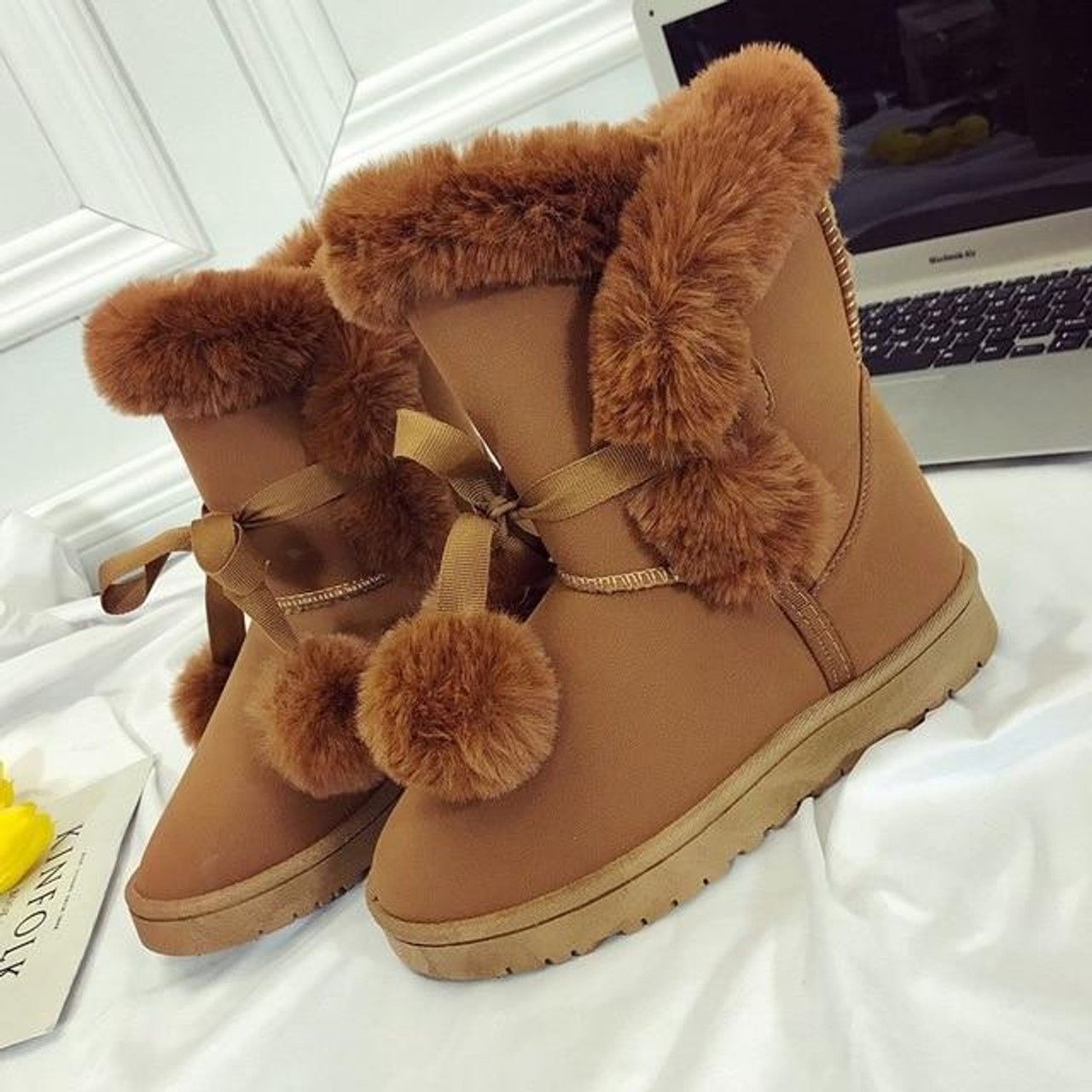 Warm Fur Women Snow Boots Cute Suede
