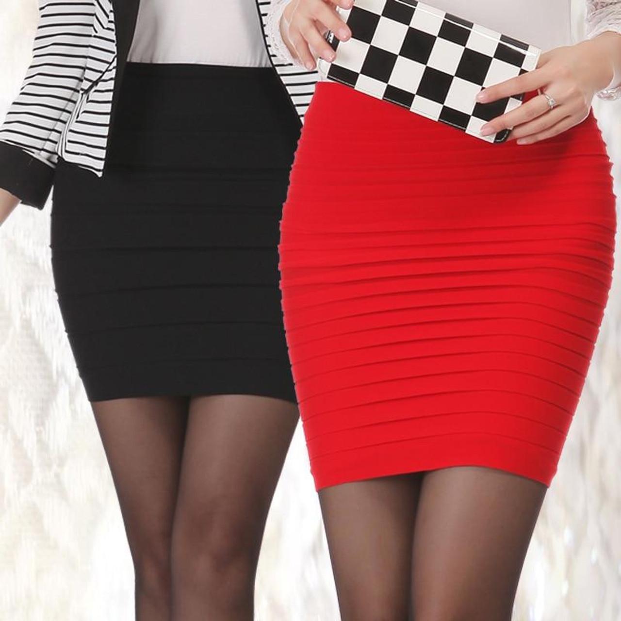Fashion Summer Skirt High Waist Elastic Pleated Short Skirt Candy Color Skinny Mini Skirt,deep Green