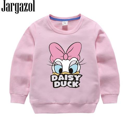 Jargazol Baby Girl Clothes 2019 Autumn Winter Fleece Sweatshirt Cartoon Duck Printed Todder Boy Tops Children Cotton Kids Shirt - Joelinks store