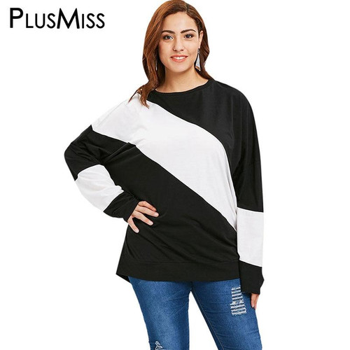 PlusMiss Plus Size 4XL-XL White Black Patchwork Loose Casual T Shirts Women Autumn 2018 Long Sleeve Tops Tees Female Big Size - Joelinks store