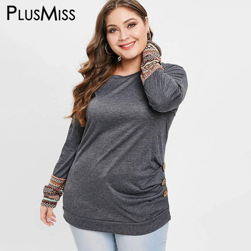 PlusMiss Plus Size 5XL Loose Casual Long Sleeve T Shirts Female Spring Autumn Ethnic Tops Tee Women Large Size XXXXL XXXL XXL - Joelinks store