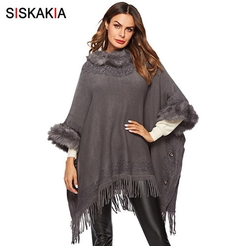 Siskakia Plus Size Women Coat Autumn 2019 Thick Cloak Tops Outwear Fashion Faux fur Collar Tassel Patchwork Knitted Coat Winter - Joelinks store