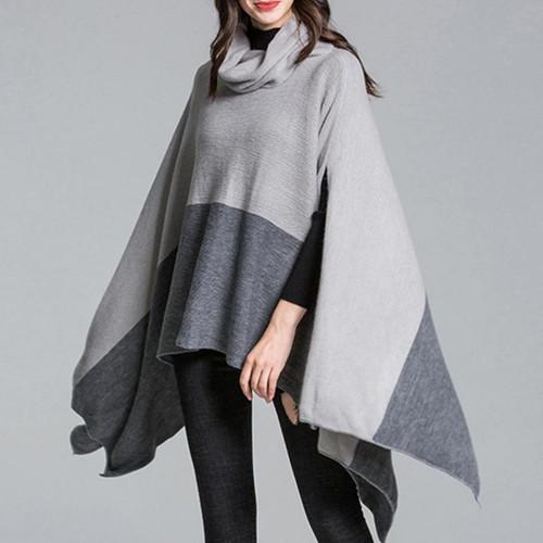 DSQUAENHD Winter Warm Turtleneck Coat Ponchos for Elegant Women Patchwork Pullover Asymmetric Knitting Cloak Capes Plus Size - Joelinks store