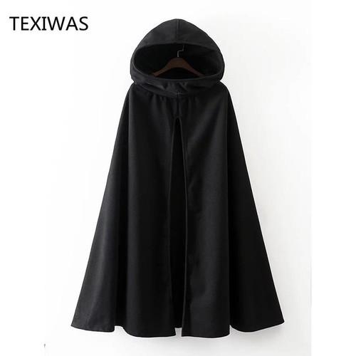 TEXIWAS Fashion Hooded Cape Coat Poncho Women Bat Sleeve Long Poncho coat Cape Outerwear Shawl Plus Size Irregular Ponchoes - Joelinks store