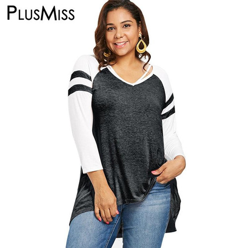 PlusMiss Plus Size 5XL Women Tunic Striped Long Sleeve T Shirts Ladies Big Size Casual Long Tops Tees Female 2019 XXXXL XXXL XXL - Joelinks store