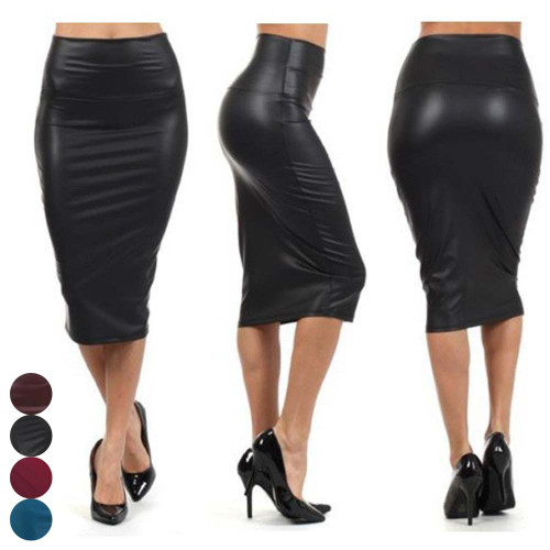 Newly Women High Waist Faux Leather Pencil Skirt Bodycon Skirt Solid Sexy OL Office Skirts - Joelinks store