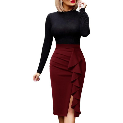 Vfemage Womens Elegant Ruched Ruffle High Waist Slit Split Work Business Cocktail Party Fitted Stretch Bodycon Pencil Skirt 1007 - Joelinks store