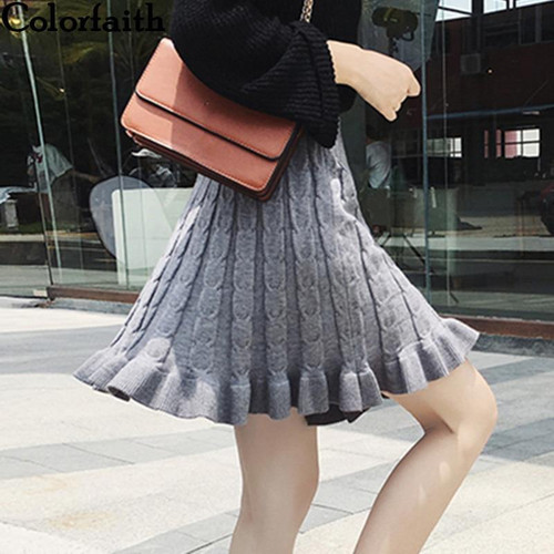 Colorfaith New 2019 Women Knitting Mini Skirt Autumn Winter Vintage Fashion Ladies Pleated Ruffles Skater Skirt Female SK8202 - Joelinks store