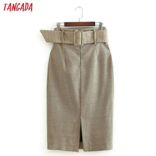 Tangada fashion women plaid skirt vintage work office ladies skirt with belt mujer retro mid calf skirts BE175 - Joelinks store