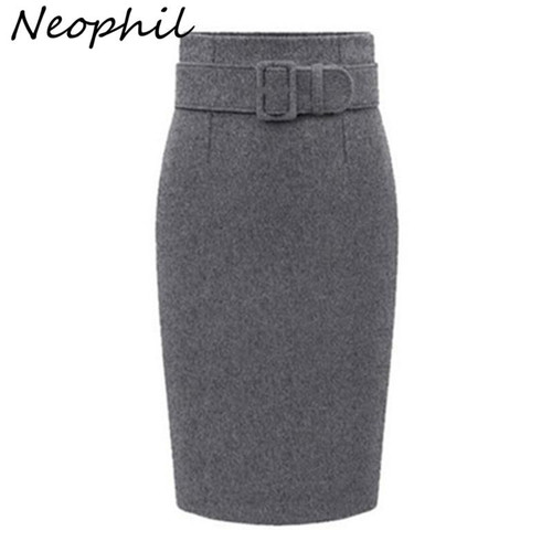 Neophil 2019 Winter Gray Thick Wool Midi Pencil Skirts Plus Size Women Casual Slim High Waist Belt Office Work Wear Saias S1205 - Joelinks store