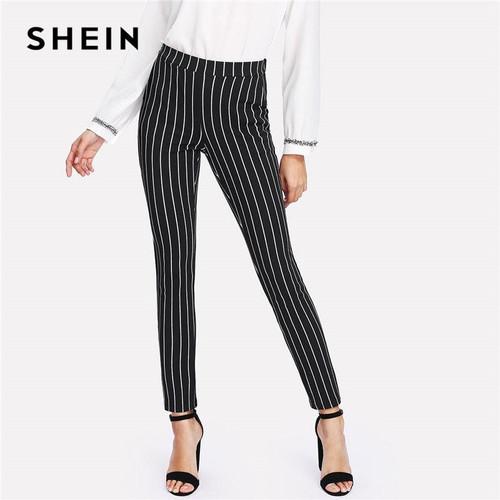 SHEIN Vertical Striped Skinny Pants Women Elastic Waist Pocket OL Style Work Trousers 2019 Spring Mid Waist Long Pencil Pants - Joelinks store