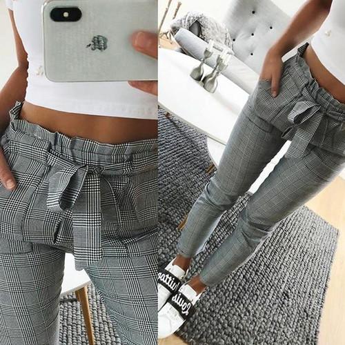 New 2019 Fashion spring Vintage gray grid casual pants women pants trousers female streetwear capris summer pants - Joelinks store