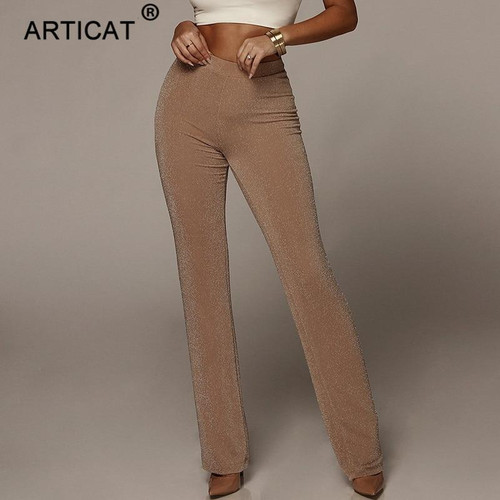 Articat Autumn High Waist Wide Leg Pants Women Winter Solid High Elastich Flare Pants Skinny Casual Sexy Party Trousers Women - Joelinks store