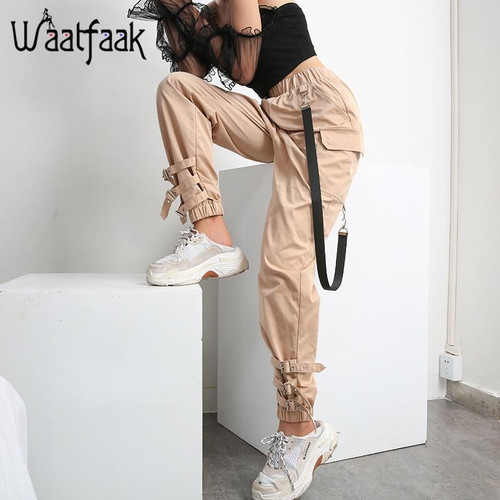 Waataak Elatic High Waist Harem Pants Women Cloth Chain Buckle Pantalon Khaki Pocket Long Casual korean pants Pencil Autumn 2019 - Joelinks store