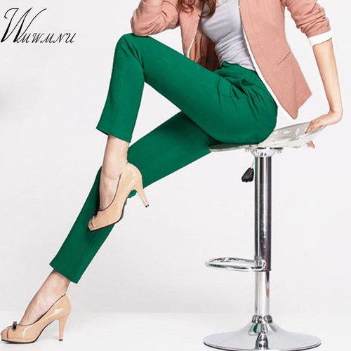 2019 NEW women's casual OL office Pencil Trousers Girls's cute 12 colour Slim Stretch Pants fashion Candy Jeans Pencil Trousers - Joelinks store
