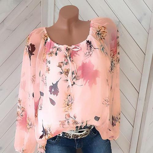 Plus Size Chiffon Shirt Casual Tops 2019 New Full Sleeve O-Neck Print Autumn Winter Blouse Women Fashion Retro Loose Blusas 5XL - Joelinks store