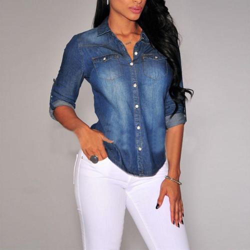 Women Lapel Button Blue Down Denim Jean Shirts Pocket Slim Top Blouse Coat New Arrival - Joelinks store