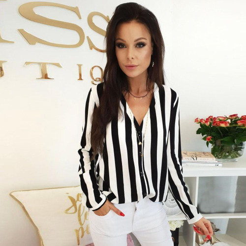 GA@2019 New Blouse Women Casual Striped Top Shirt Fashion Ladies Loose Tops And Blouses - Joelinks store