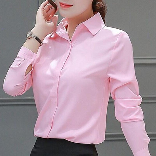 Womens Blouses Cotton Tops and Blouses Casual Long Sleeve Ladies Shirts Pink/White Blusas Plus Size XXXL/5XL Blusa Feminina - Joelinks store