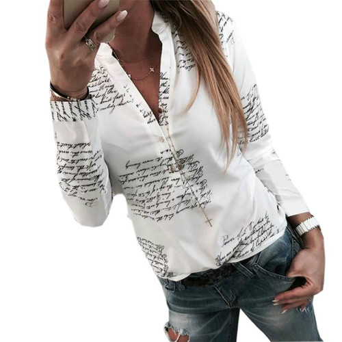 Letters Printed Buttons V-neck Sexy Tops Autumn Women Fashion Lady White Blouse Long Sleeve Shirts Spring Blusas Plus Size M0303 - Joelinks store