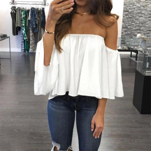 Fashion Women Off Shoulder Top Long Sleeve Pullover Casual Blouse Hals Langarm Chiffon Schulter Chiffon Blouse 2018 G1 - Joelinks store