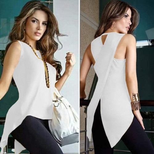 Womens Tops and Blouses Summer Female Cross Ladies Top O-Neck Woman White Blouse Shirt Sleeveless Tops for Women 2019 Tank - Joelinks store