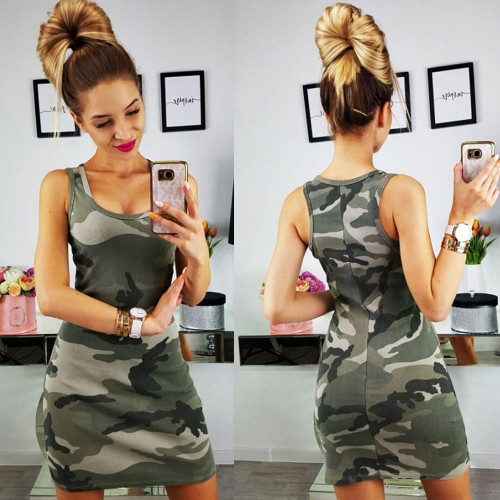 2019 New Summer Fashion Women Sexy Tank Dress Slim Casual Camouflage Military O-Neck Print Splice Empire Mini Dresses Vestidos - Joelinks store