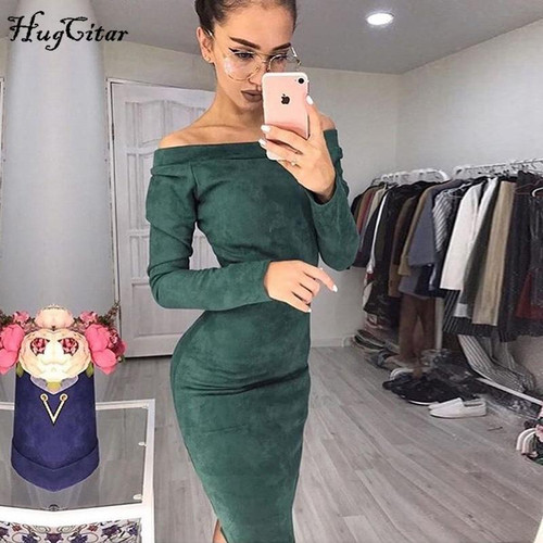 Hugcitar Suede Long Sleeve off shoulder Women mid-calf Dress 2019 Autumn Winter Female sexy Bodycon new year party Dresses - Joelinks store