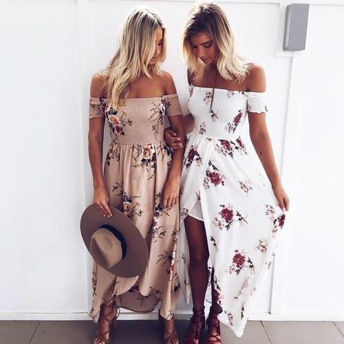 Boho style long dress women Off shoulder beach summer dresses Floral print Vintage chiffon white maxi dress vestidos de festa - Joelinks store