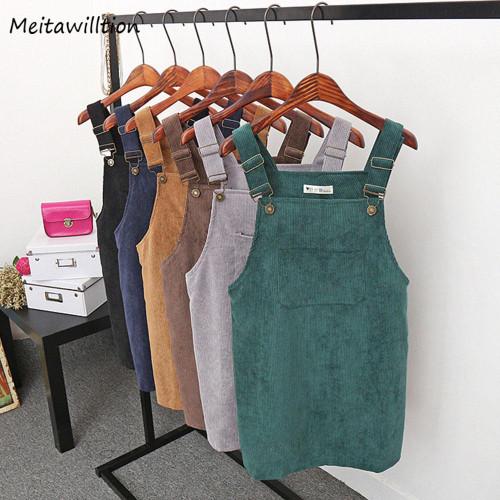 2019 Women Retro Corduroy Dress Autumn Spring Suspender Sundress Sarafan Loose Vest Overall Dress Female Natural Casual Dresses - Joelinks store