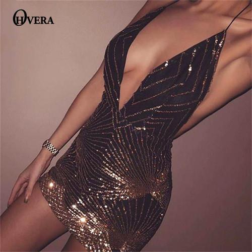 Ohvera Halter Sequin Party Dresses Women Sexy 2018 Backless Bodycon Dress Elegant Mesh Mini Dress Clubwear Vestidos Wholesale - Joelinks store
