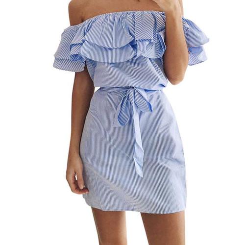 2019 Summer Casual Plus Size S - 3XL Women's Slash Nack Button Pocket Denim Casual Party Elegant Dress Vestidos Beach Dress l809 - Joelinks store