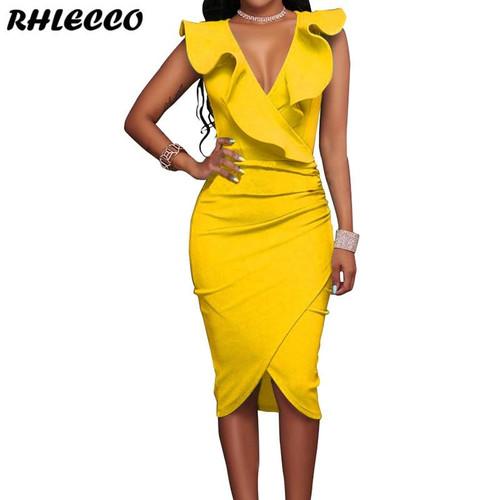 Summer Dresses 2019 Women Yellow Ruffles Casual Party Black Ladies Wrap Sleeveless V Neck Sexy Midi Dress White Bodycon Vestido - Joelinks store