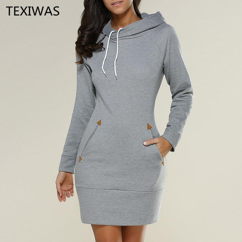 TEXIWAS Fashion Hooded Sweatshirt Women Dress Spring Autumn Drawstring Tracksuit Dress Women Vestidos Hoodies Sweatshirt Dress - Joelinks store