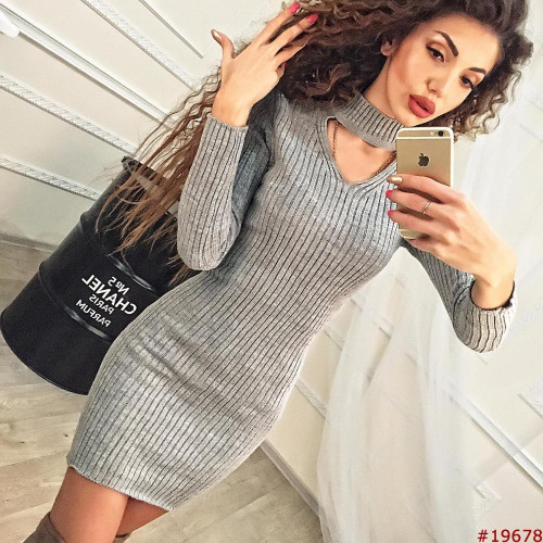 Women Clothes 2019 Autumn Long Sleeve Bodycon Casual Dress Fall Winter Slimming Solid Color Elegant Temperament Quality Dresses - Joelinks store