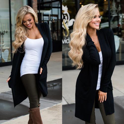 Cardigan Women Long Sleeve New Female Elegant Pocket Knitted Outerwear Sweater High Quality - Joelinks store