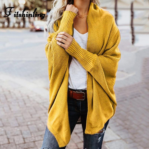 Fitshinling Oversized sweater cardigan female clothes patchwork batwing sleeve long cardigans women winter jacket coat big sizes - Joelinks store