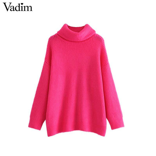 Vadim women turtleneck knitted loose sweater oversized warm thick long sleeve pullovers female casual chic tops HA086 - Joelinks store
