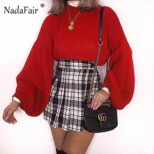 Nadafair long lantern sleeve loose knitted sweater jumpers women 2019 winter casual korean sweater pullovers pull femme hiver - Joelinks store