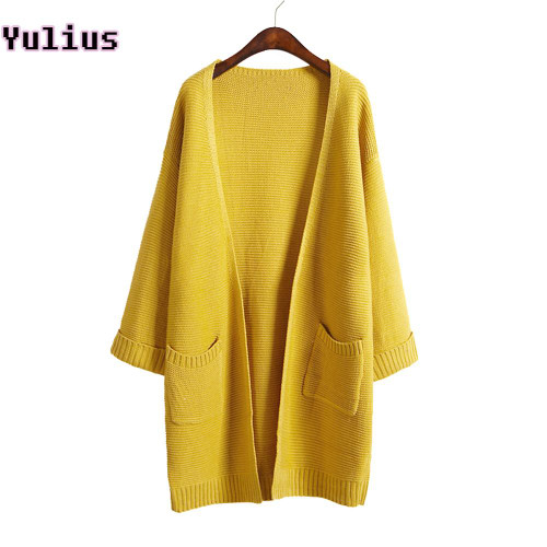 2019 ulzzang Girl Casual Long Knitted Cardigan Autumn Korean Women Loose Solid Color Pocket Design Sweater Jacket Pink Beige - Joelinks store