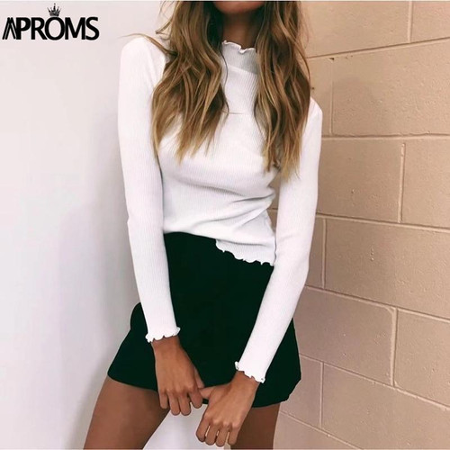Aproms White Turtleneck Bodycon Sweaters Women Solid Basic Pullovers Slim Fit Street Knitwear 2018 Knitted Pull Femme Jumper - Joelinks store