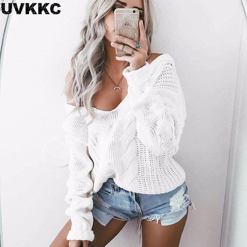 UVKKC Women winter knitted sweater women 2019 Autumn white hollow out pullover sweater Sexy deep v neck long sleeve jumpers - Joelinks store